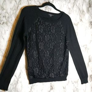 Forever 21 Black Top with Lace Contrast
